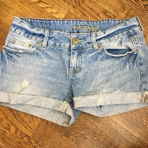 American Eagle Ripped Distressed Light Wash Shorts